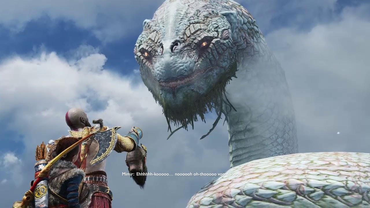 God of war mimir speaks with world serpent jormungandr - God of war jormungandr ...