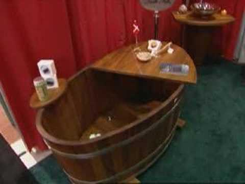 HGTV Scandinavian Teak Wood Bathtub