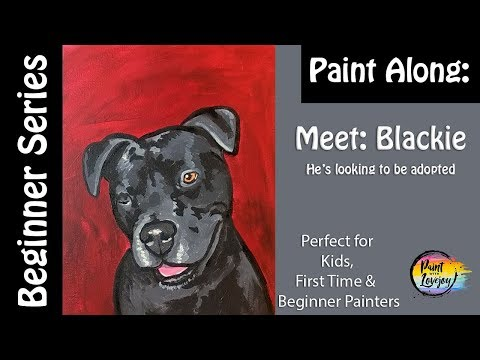 easy-how-to-paint-a-black-labrador:-meet-blackie,-he-only-has-1-eye-and-is-looking-to-be-adopted.🎨