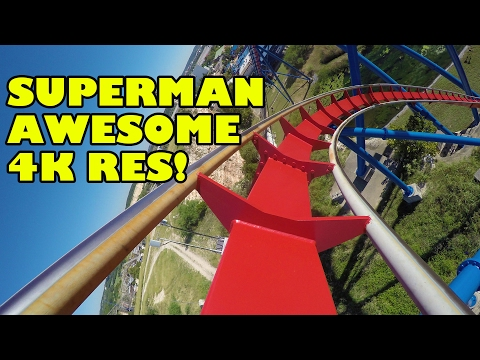 Superman Roller Coaster AWESOME 4K Resolution Front Seat POV Six Flags Fiesta Texas
