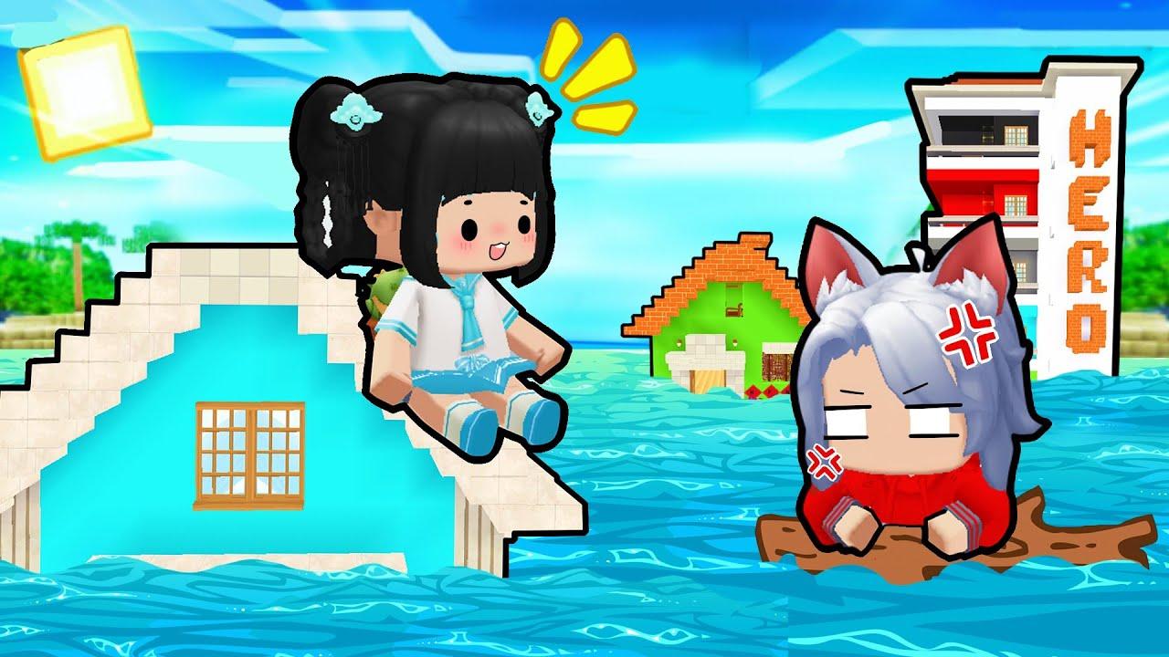 """Mèo Simmy 24H Thử Thách Sống Trong """"Làng HeroTeam Ngập Sóng Thần"""" Trong Mini World"""