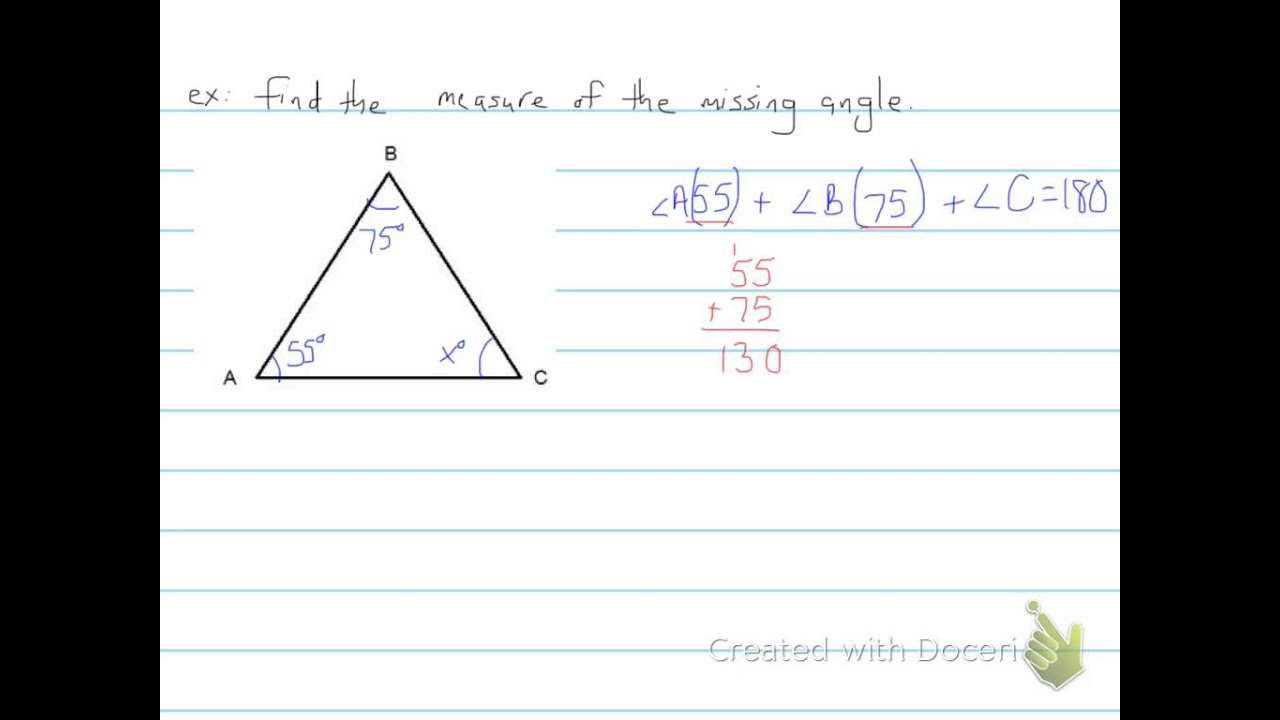 worksheet Find The Missing Angle In A Triangle Worksheet finding the missing angle in a triangle 6th grade youtube grade
