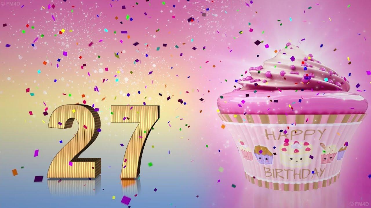 Geburtstagskarte Mit Luftballons Zum 27 Geburtstag