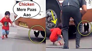 Taimur Ali Khan Running Behind The Chicken