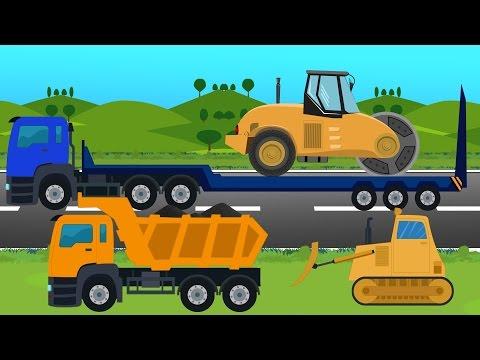 รถแม็คโครก่อสร้างทำถนน รถบรรทุก รถตักดิน รถบดดิน รถ Excavator & Dump trukc