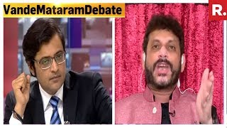 Arnab goswami hammers waris pathan | heated discussion on vande mataram