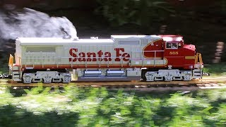 Large Model Train On The Lawn With Smoke