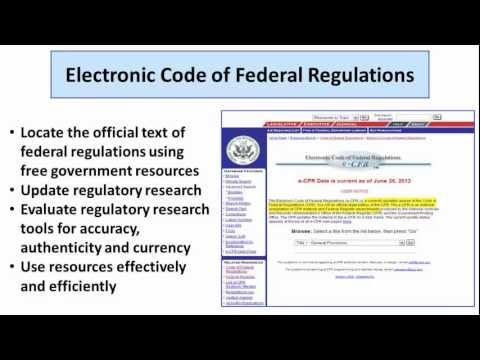 How To Use The Online Code Of Federal Regulations (eCFR) To Research Federal Regulations