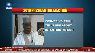 Former VP, Atiku Tells PDP About Intention To Run |Politics Today|