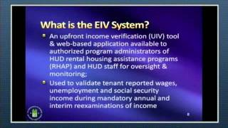 2011 Updated PIH-EIV System 9.2.1 Training: Day 1, Part 1 - HUD - 10/27/11