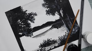 How to draw black and white scenery of landscape