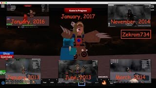 Roblox, Zombie Tower timelapse 2017, going Back in Time to 2013, 2014, 2016