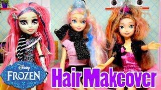 frozen elsa s wild hair makeover barbie chalk coloring monster high disney s princess anna dolls