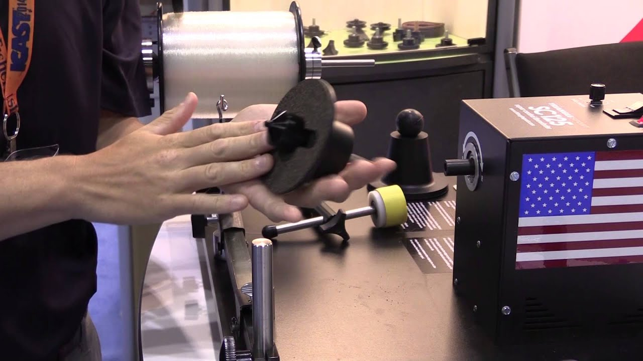 Triangle sport sc125 line winder at icast 2014 youtube for Fishing line winder machine