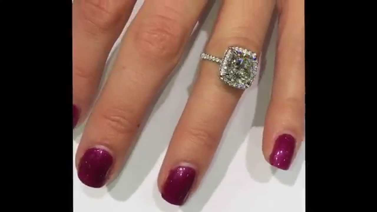3 carat cushion diamond engagement ring in raised halo - youtube