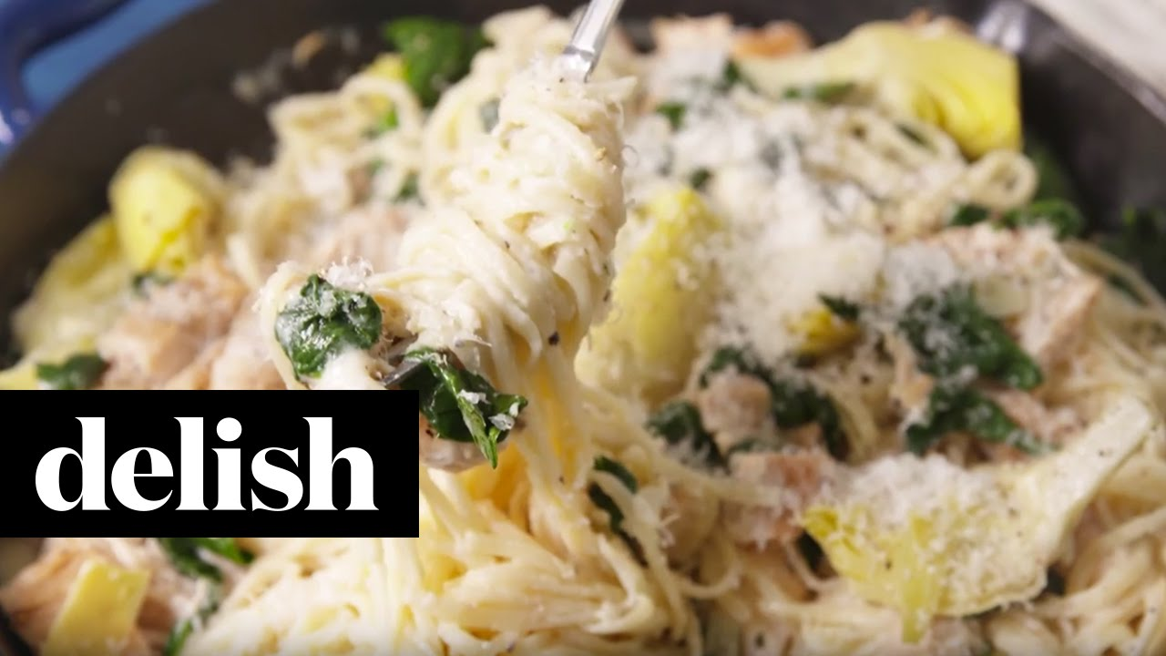 How To Make Chicken, Spinach & Artichoke Pasta | Delish ...