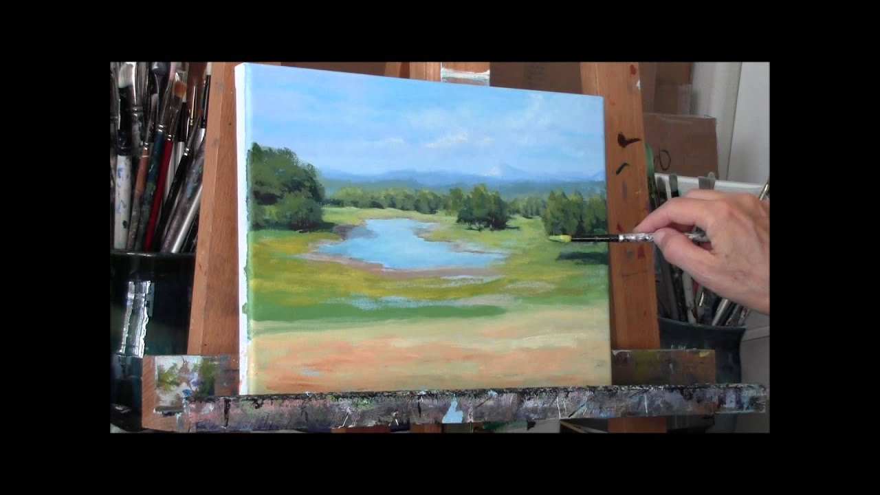 Summer pond part 2 acrylic country pond painting demo for How to acrylic