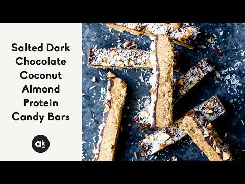 Salted Dark Chocolate Coconut Almond Protein Candy Bars