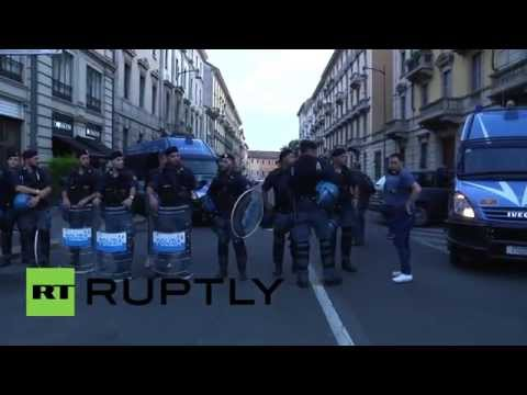 Italy: Anti-austerity protesters rally in solidarity with Greece in front of Milan EP offices