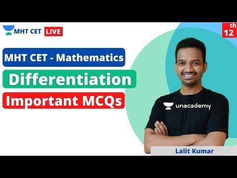 MHT CET Mathematics   Differentiation   Important MCQs   Crack MHT CET Maths   Lalit Kumar