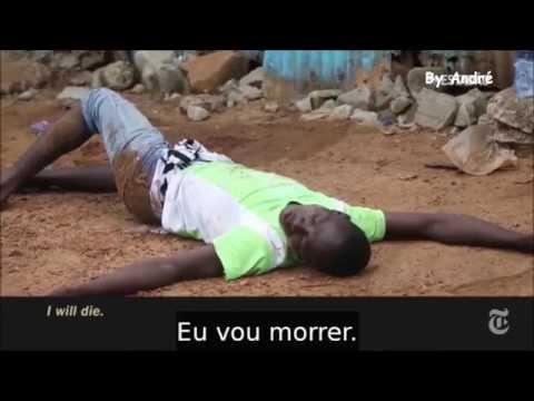 Jovem morrendo de Ebola em porta de Hospital