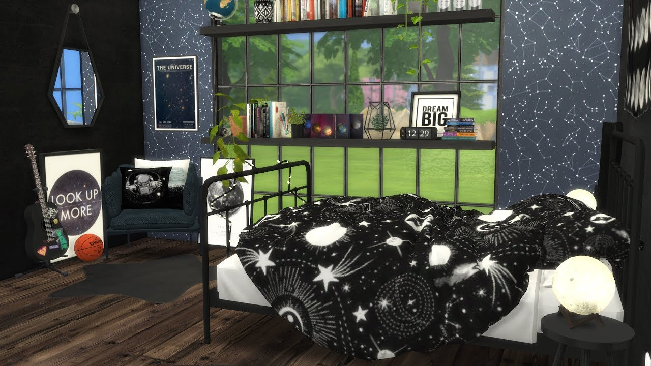 The Sims 4 Speed Build  SPACE THEMED BEDROOM  CC LINKS  YouTube
