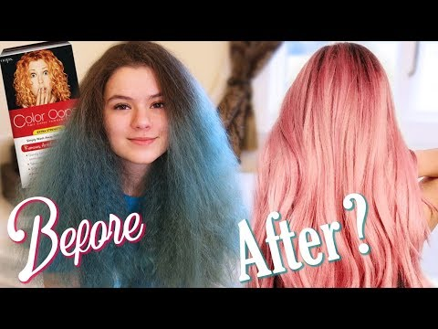 Dying my Teal Hair Pink Myself!  Color Opps hair color removal at Home!