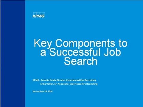 KPMG and the Key Components to a Successful Job Search