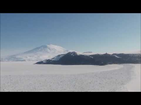 Antarctica helicopter ride. Black Island back to McMurdo station