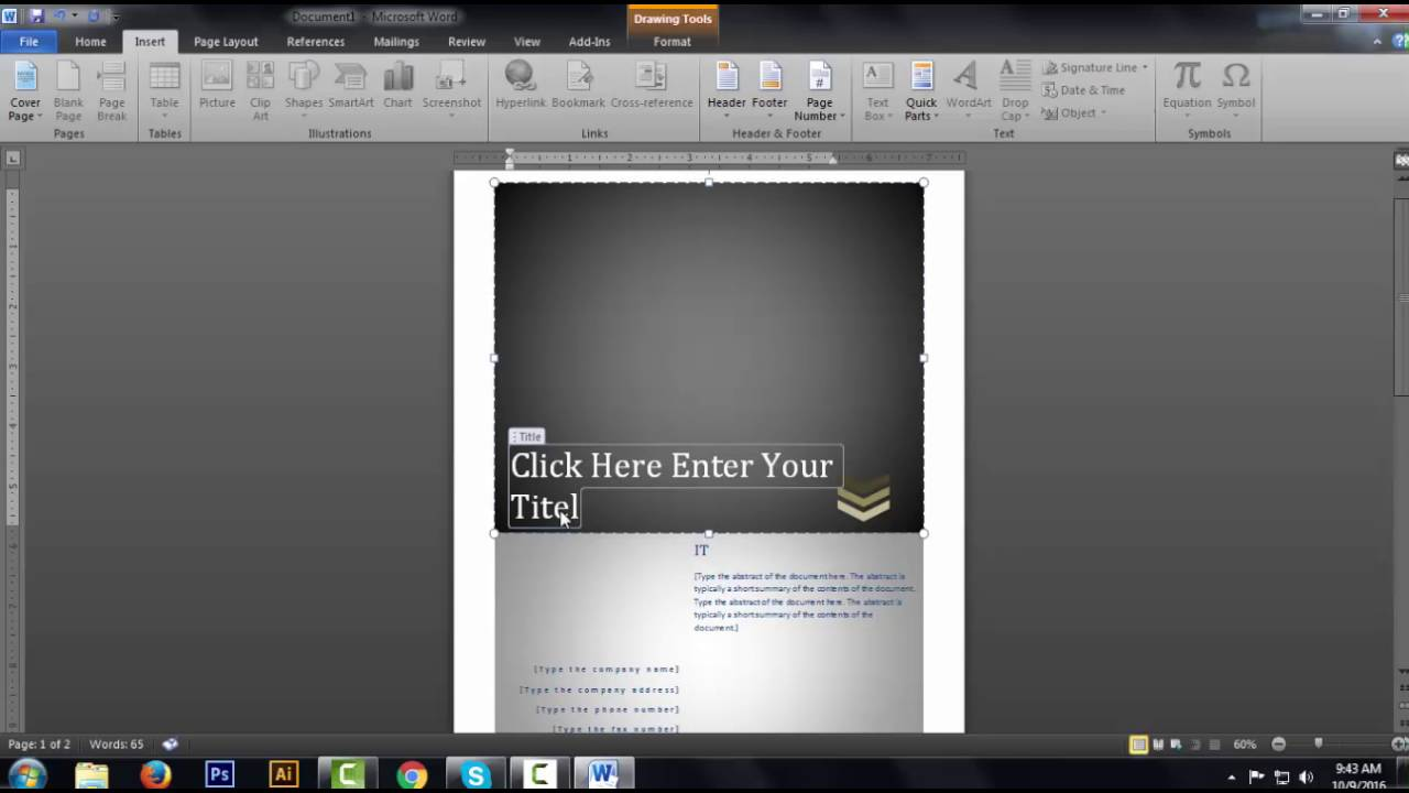 how to crate cover page design in ms word  how to crate cover page design in ms word 2010