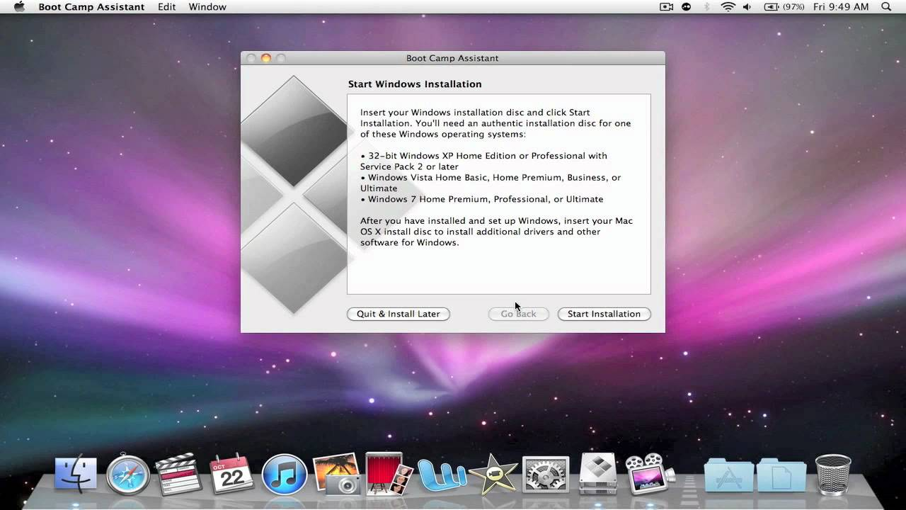 bootcamp mac os x 10.6.8
