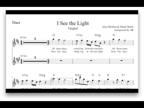 I See the Light (Tangled) | Saxophone Duet/ Sheet Music PDF/ Lyrics/ Chords