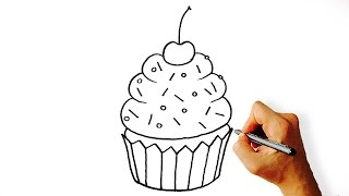 How to Draw a Cartoon Cupcake Easy