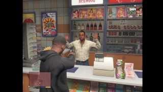 GTA 5 FRANKLIN ROBBERY ROBBING LIQUOR STORE GAS STATION GAMEPLAY HD HQ 1