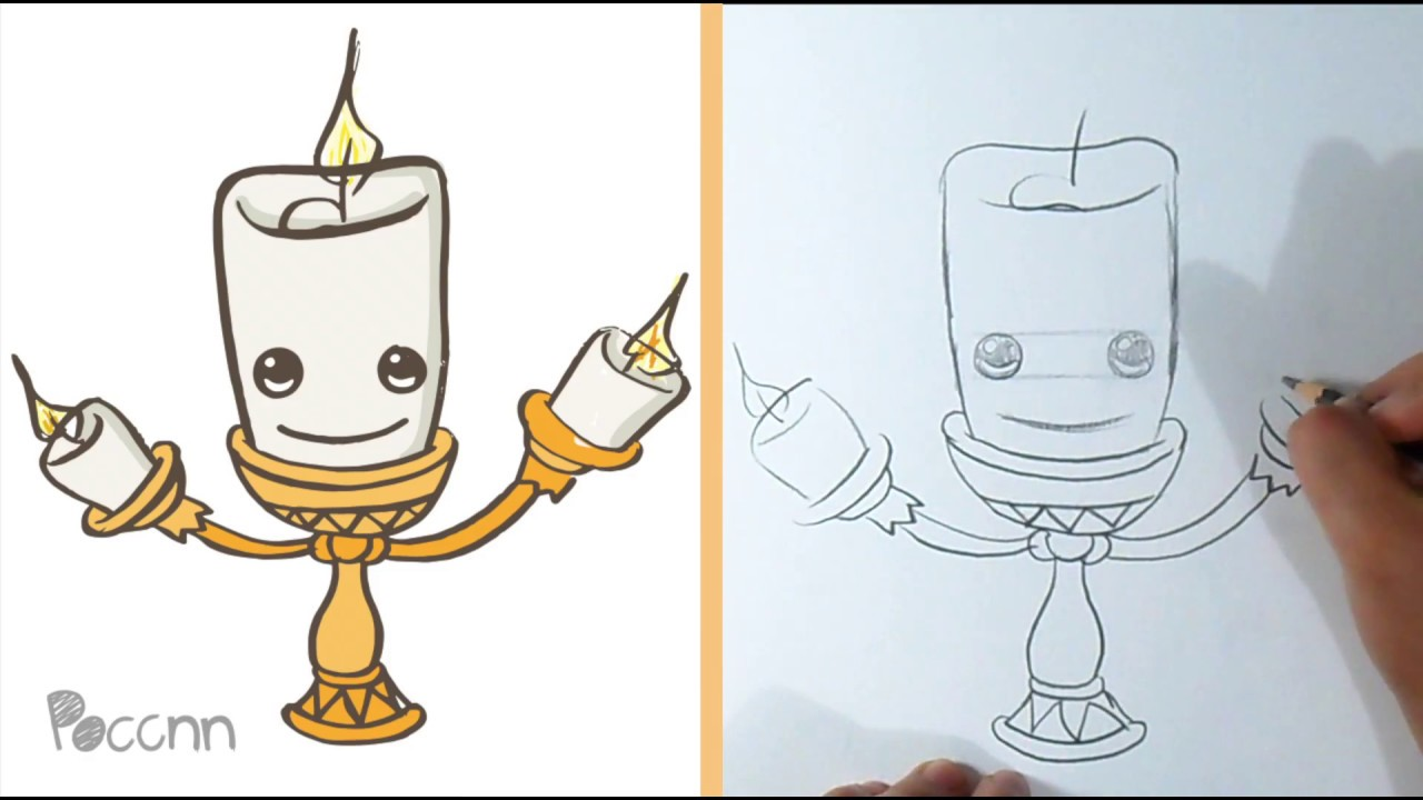 How To Draw Cute Lumiere The Beauty And Beast