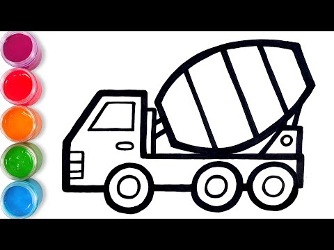 How To Draw Glitter Mixer Truck For Kids | TOBiART