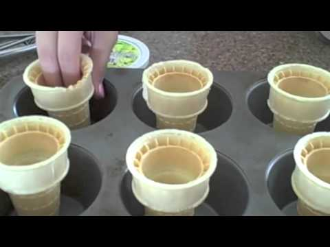 How To Make Ice Cream Cone Cupcake WIth Two Scoops