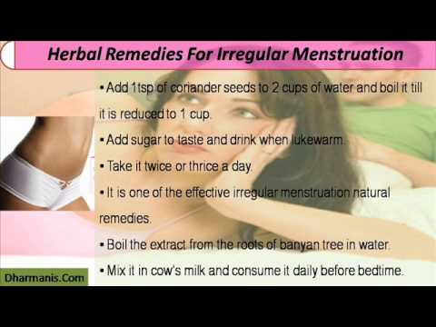 Irregular Menstruation Natural And Herbal Remedies