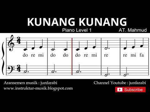 Not Balok Kunang Kunang - Tutorial Piano Level 1 - Notasi Lagu Anak - Doremi Solmisasi