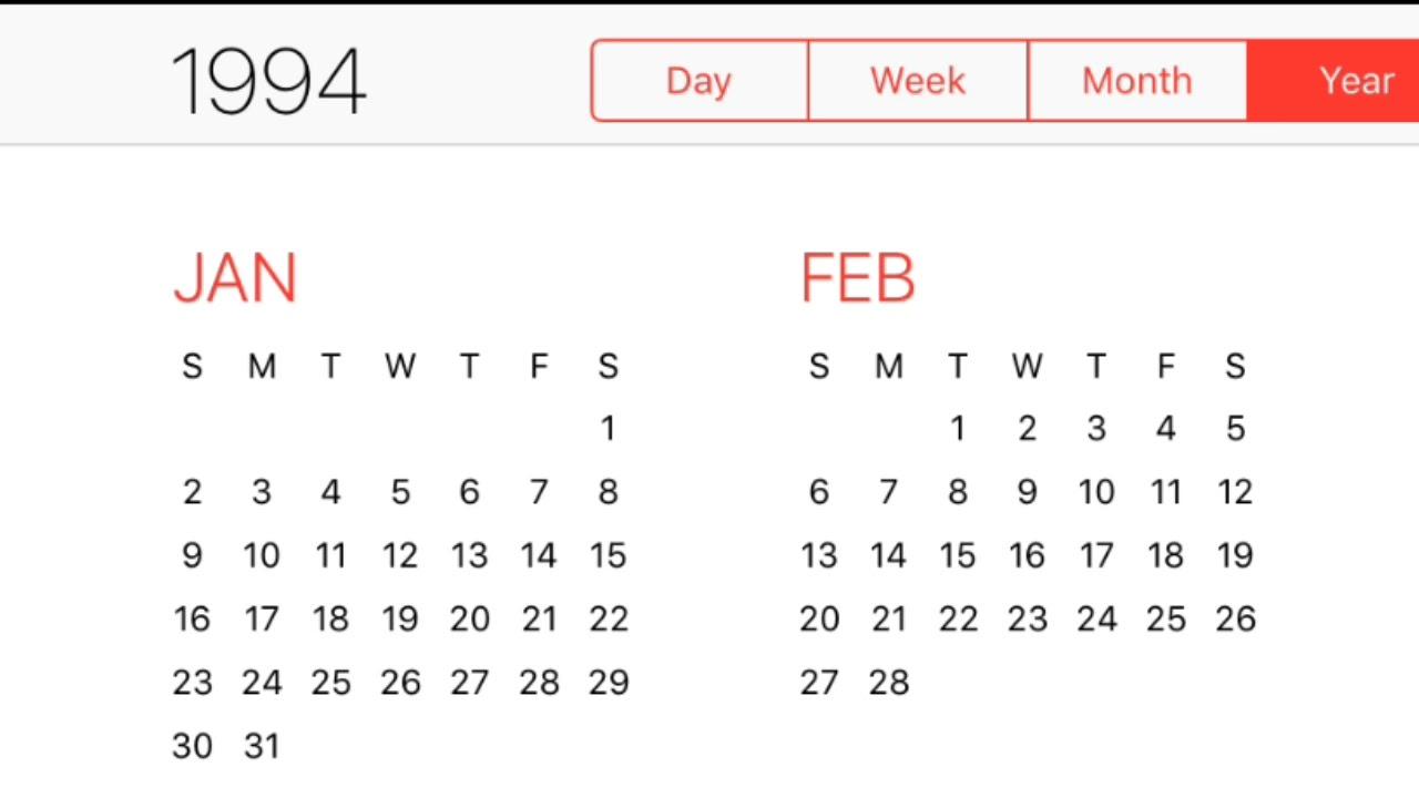 1994 Calendar Youtube