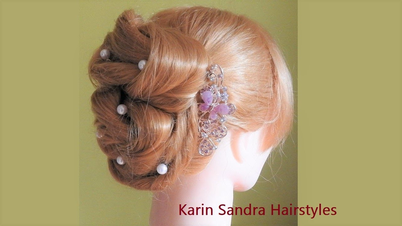 Bridal hairstyle tutorial | Updo with elastics | Easy hairstyle | Wedding hairstyle | Wedding ...
