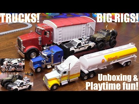 Toy Cars and Trucks! Disney Cars, Diecast Semi Hauler Trucks, Jeep Wrangler, Motorcycle and More!