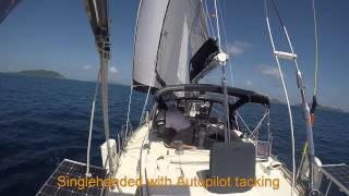 Sailing and Tacking with two sails, genoa and jib (staysail)