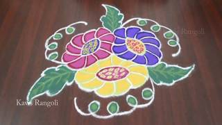 Creative Flower Muggulu - Easy Rangoli Designs - Kolam with 9x5 Dots