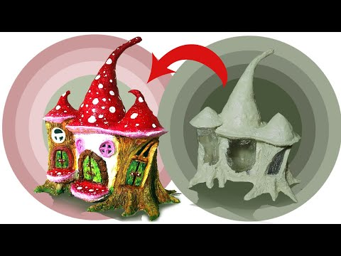 Diy Fairy Tree house making with home made paper clay using plastic bottle