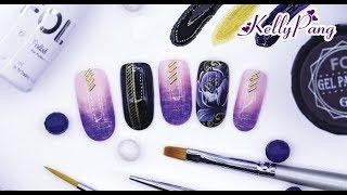 Học nail - Vẽ cọ bản gel, cọ hoa văn gel Xuân phú quý | KellyPang Nail