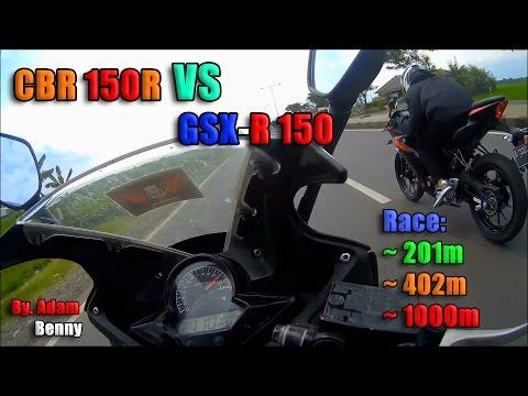 HOT! GSX-R 150 VS CBR 150R (K45A) Drag Race on 201m, 402m, & 1000m! - By. Adam Benny
