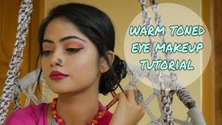warmtoned eye makeup for astomi look|| festivallook||miss claire palette n nicka k palette