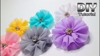 Diy - ruffle flower chiffon fabric | very fast bunga dari kain siffon alat dan bahan : gunting lem tembak jarum , benang diamond cangkang 45 ss...