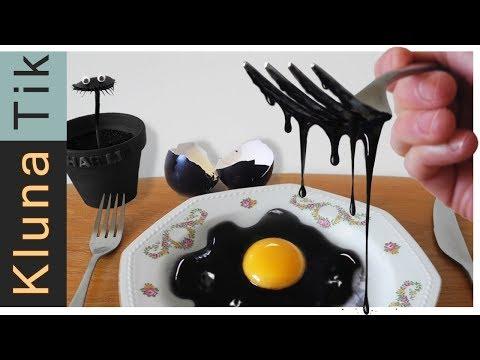 Eating A BLACK EGG!! Kluna Tik Dinner   ASMR Eating Sounds No Talk